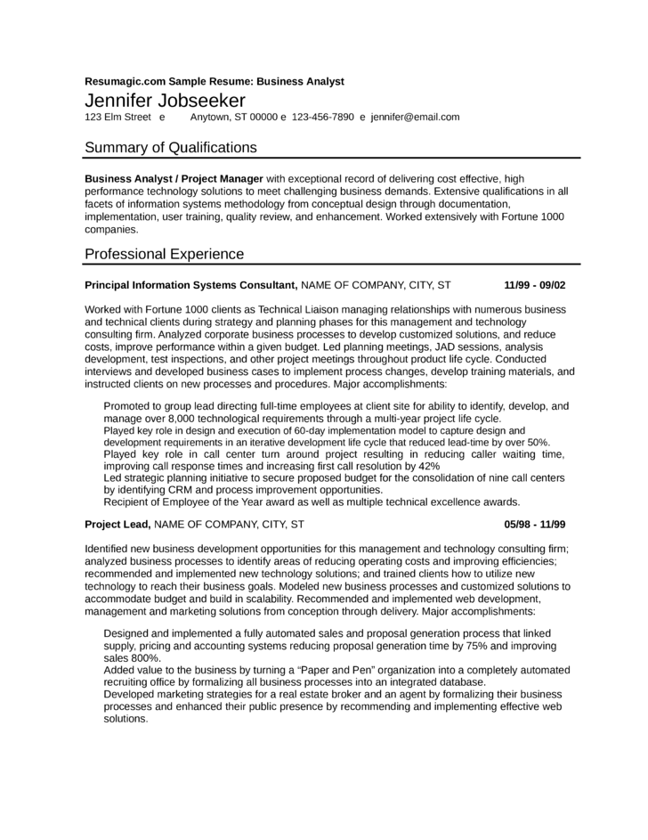 Chronological Business Analyst Resume