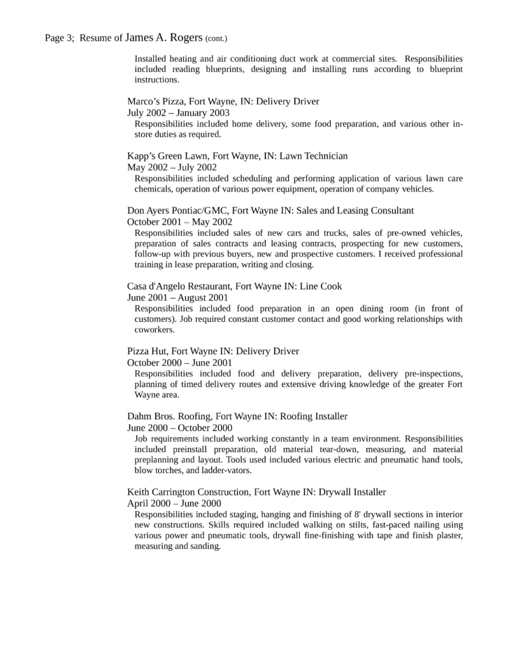chronological delivery driver resume template