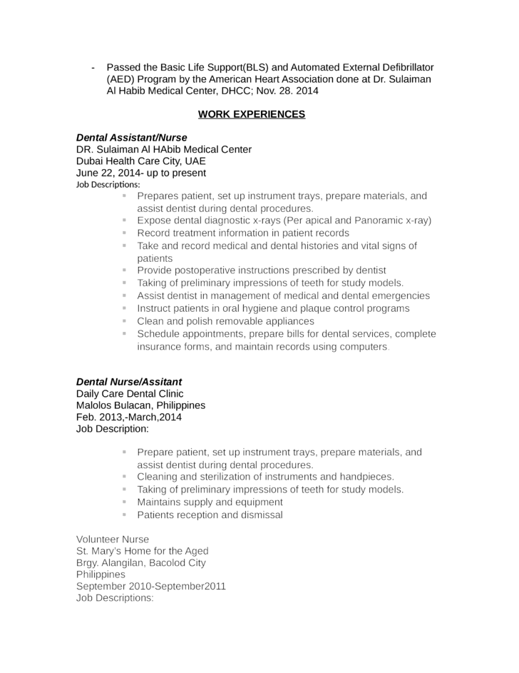 Chronological Dental Assistant Resume Page2  Resumes For Dental Assistants