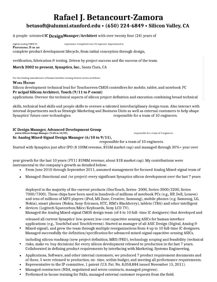 Amazing Silicon Valley Engineering Resume Gallery - Best Resume ...
