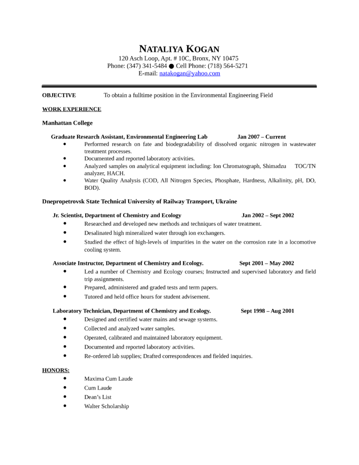 Cute Water Treatment Engineering Resume Gallery - Resume Ideas ...