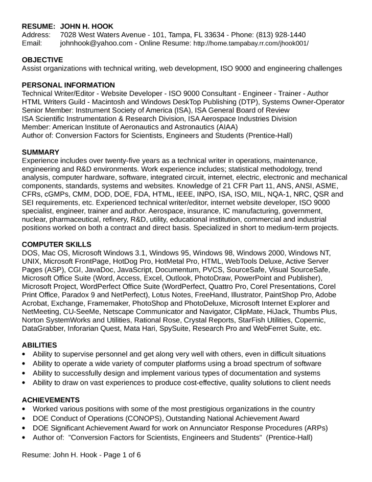 chronological field service engineer resume template