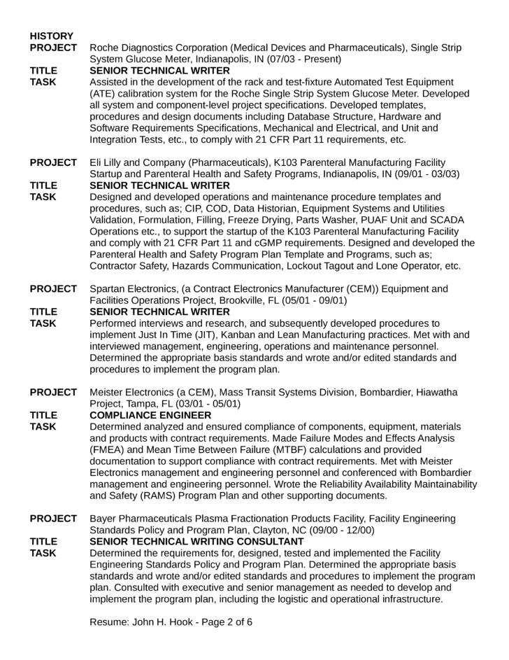 Chronological Field Service Engineer Resume Template | page 2