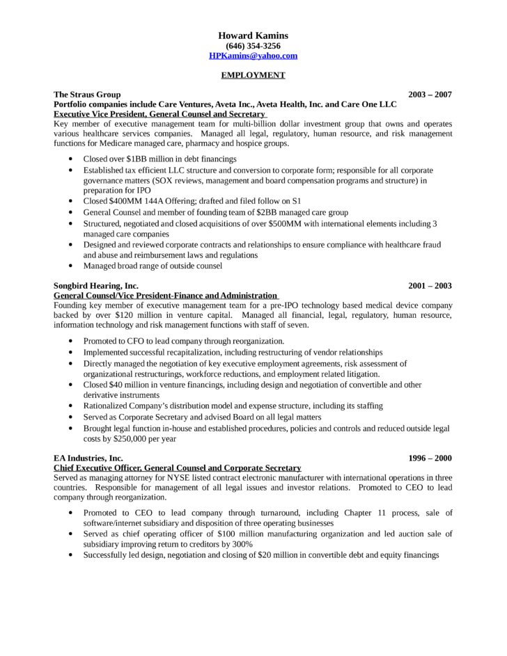 chronological general counsel resume template