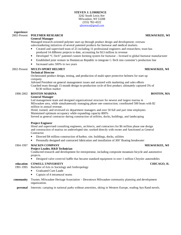 Chronological General Manager Resume