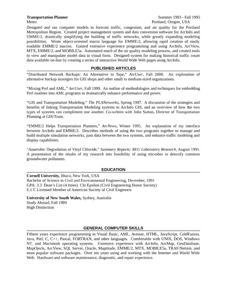 chronological gis analyst resume template