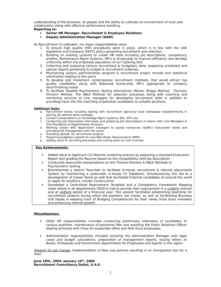chronological hr consultant resume template page 2