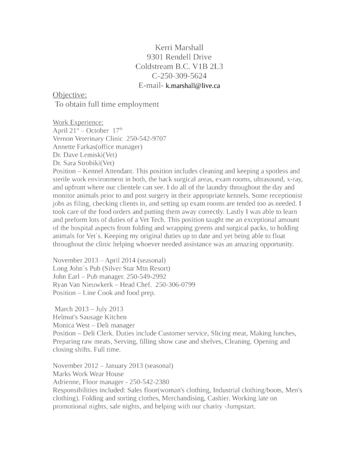 chronological kennel attendant resume template