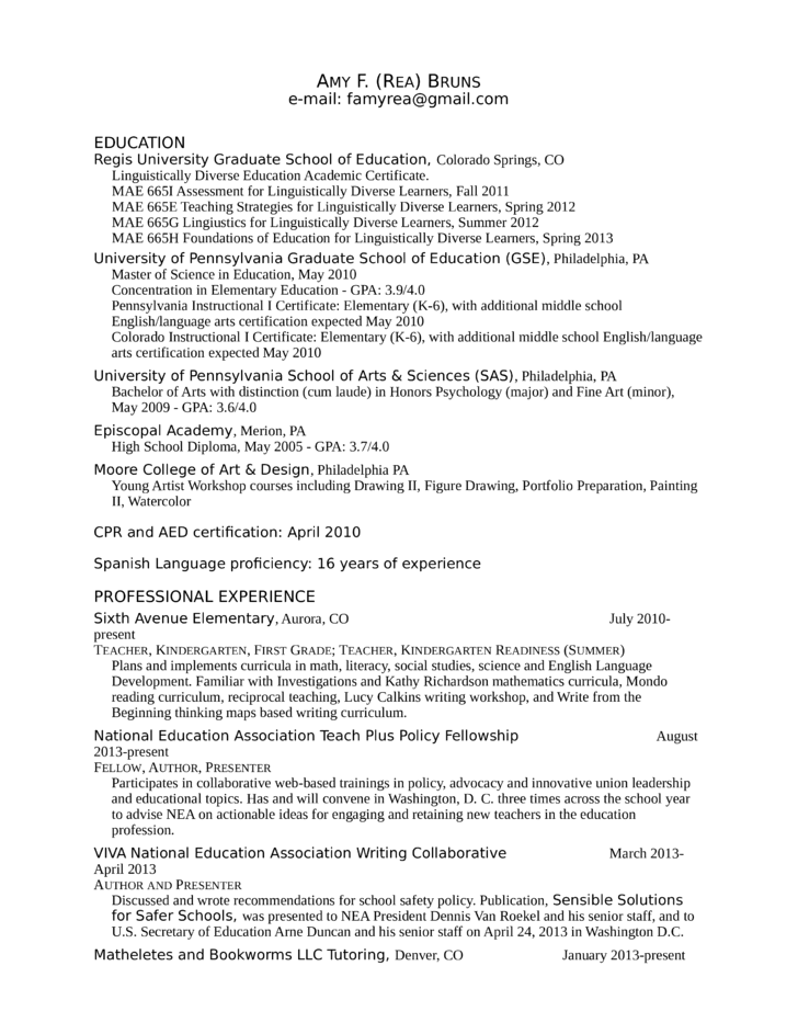 chronological kindergarten teacher resume template