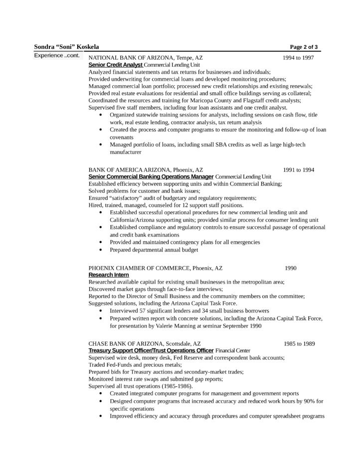 Chronological Loan Officer Resume Example Page2  Loan Officer Resume