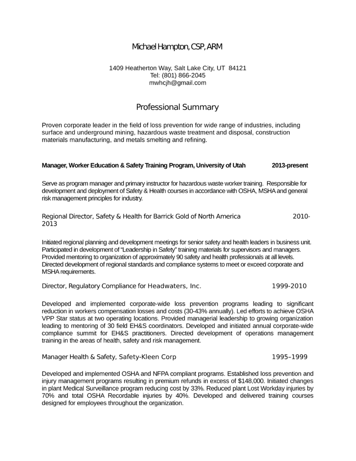 Chronological Loss Prevention Manager Resume Template