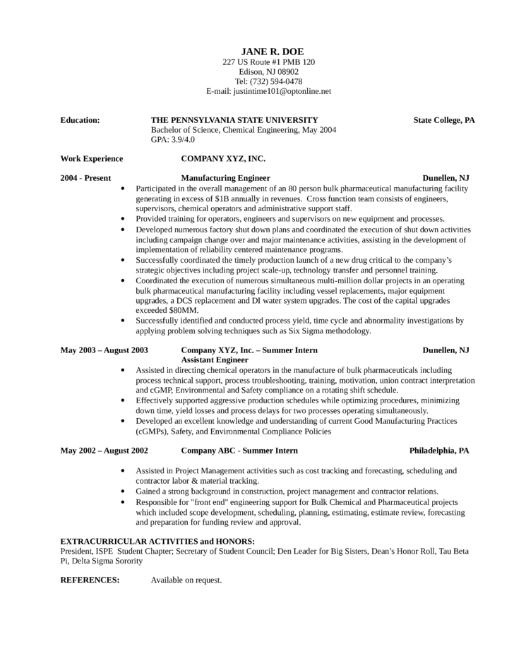 chronological manufacturing engineer resume exle template