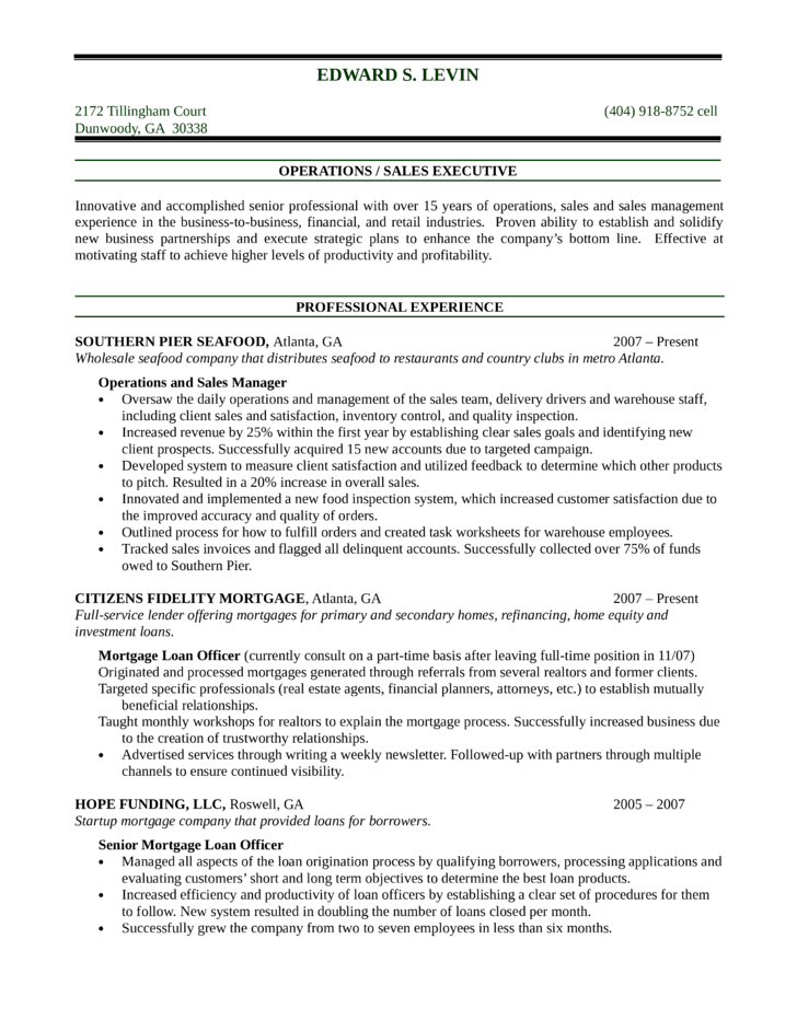 chronological mortgage loan officer resume template