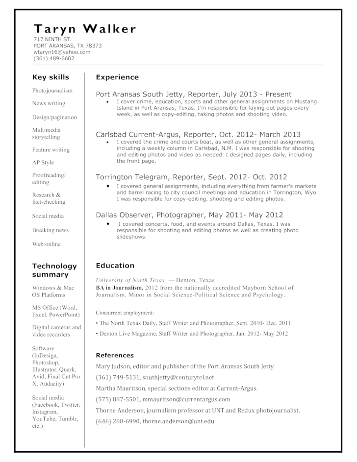 Beautiful Chronological News Reporter Resume Intended News Reporter Resume