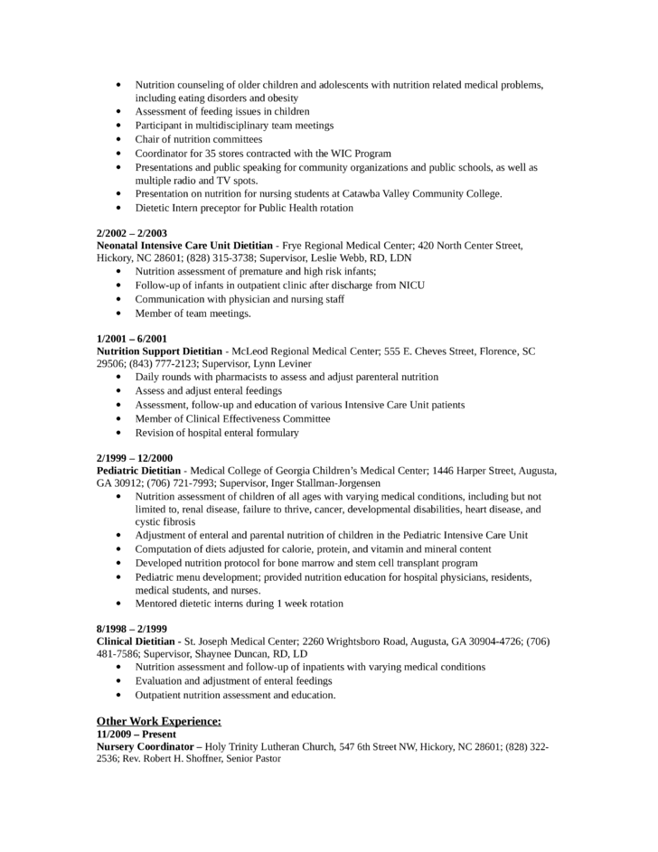 Chronological Nutritionist Resume Template | page 2