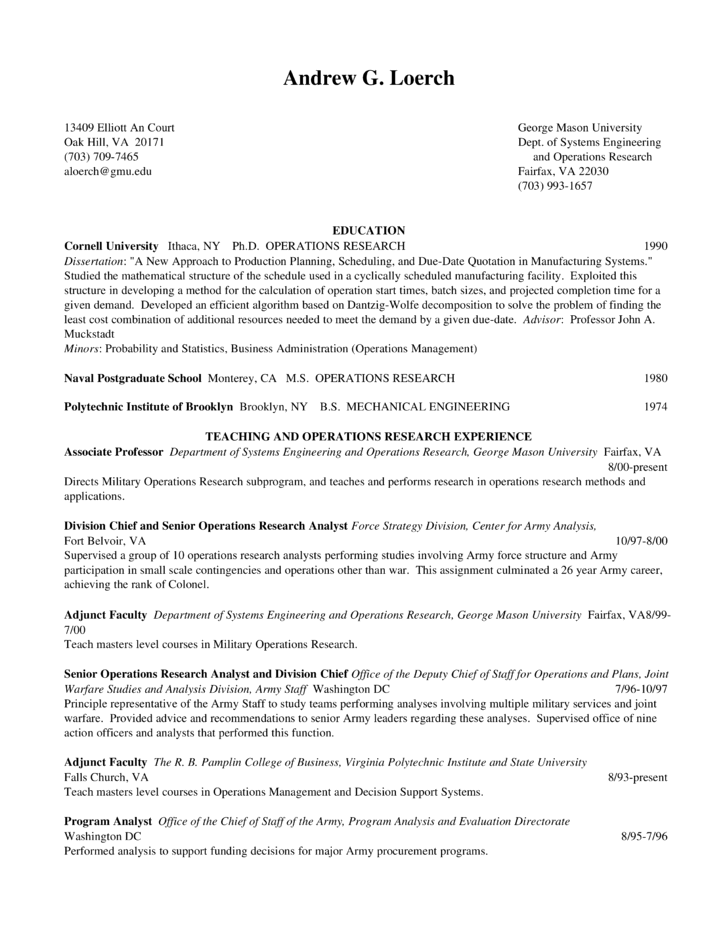 operations research resume
