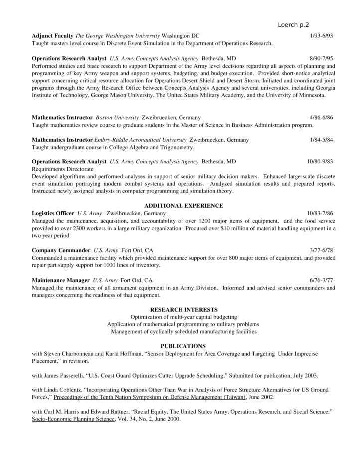 chronological operations research analyst resume template