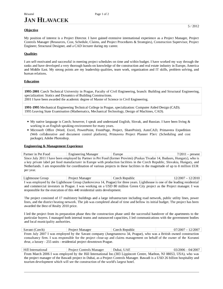 Chronological Project Engineer Resume Template