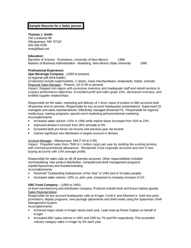 chronological sales specialist resume template