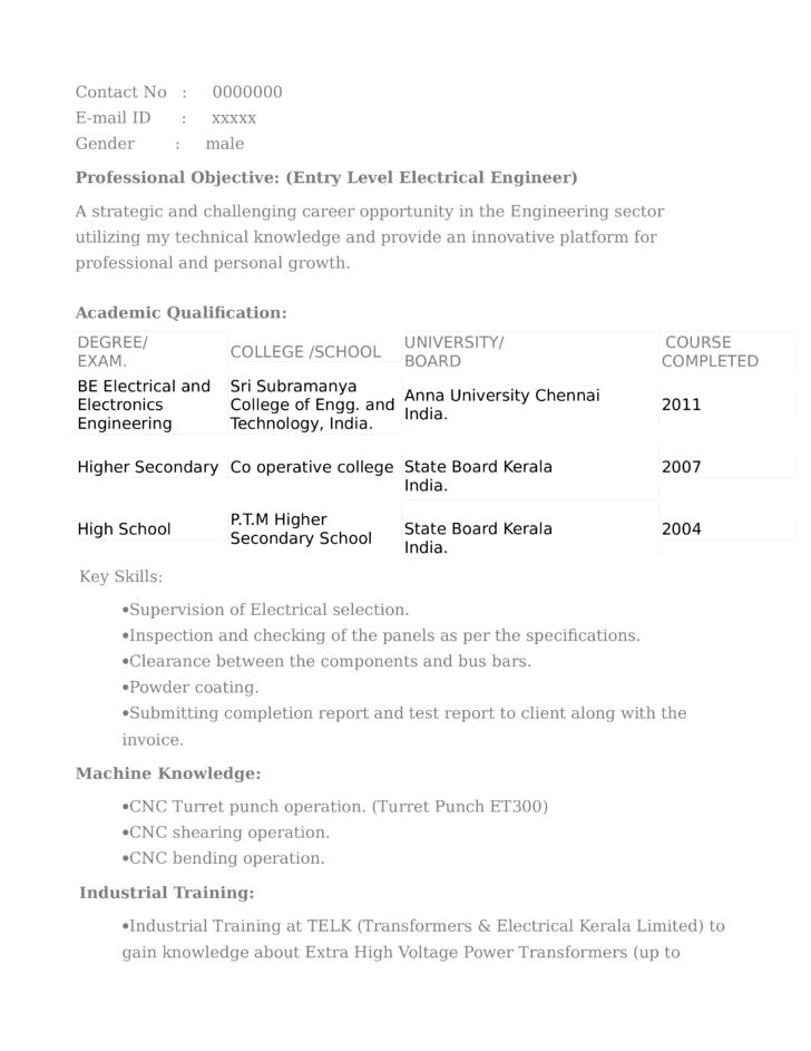 Clean Electrical Designer Resume Template