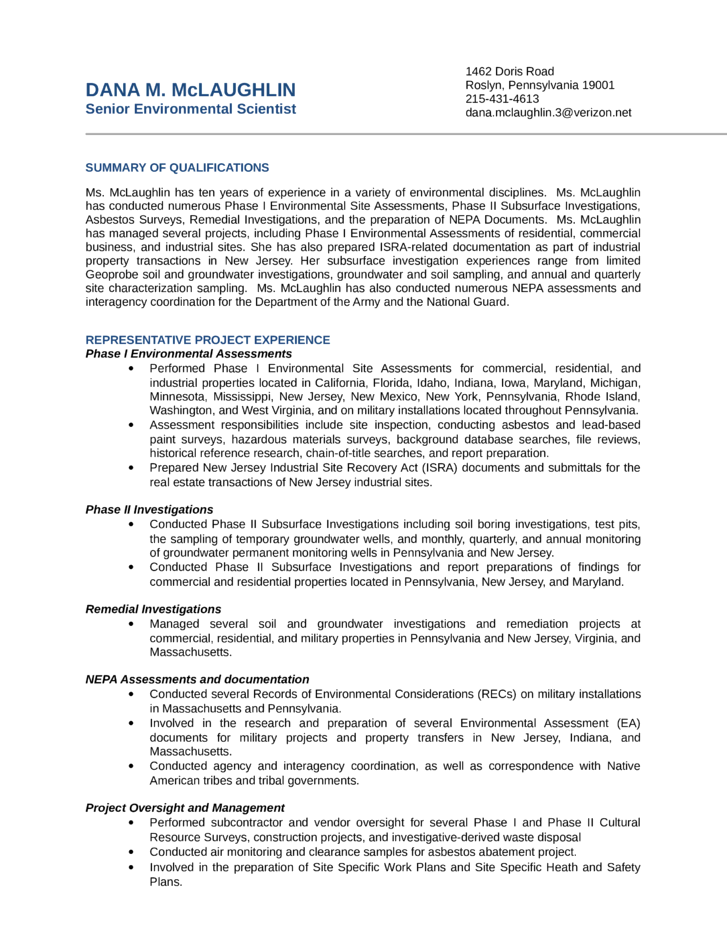 Clean Environmental Scientist Resume