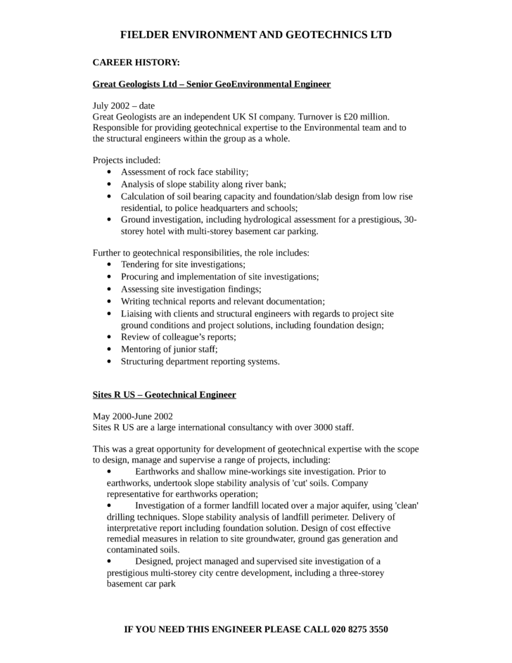 clean geotechnical engineer resume page2 r resume - Geotechnical Engineer Sample Resume