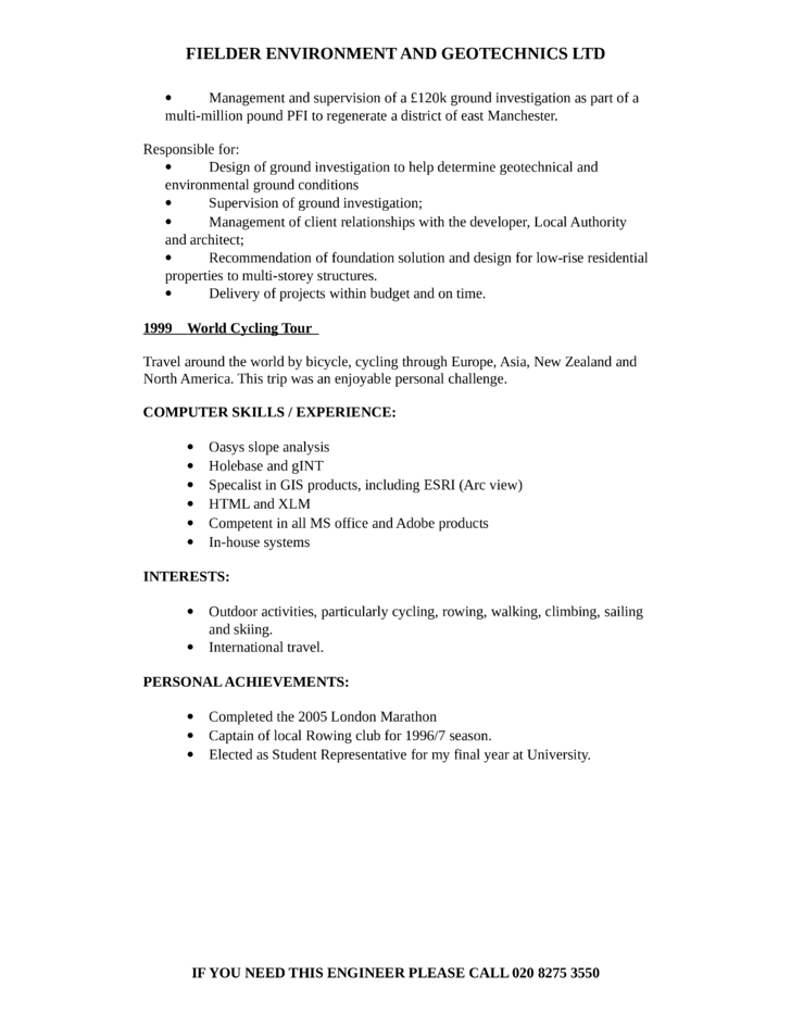 sample resume clean geotechnical engineer resume page - Geotechnical Engineer Sample Resume