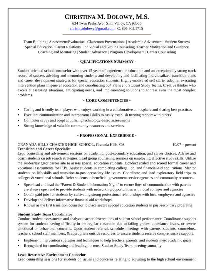 clean guidance counselor resume template
