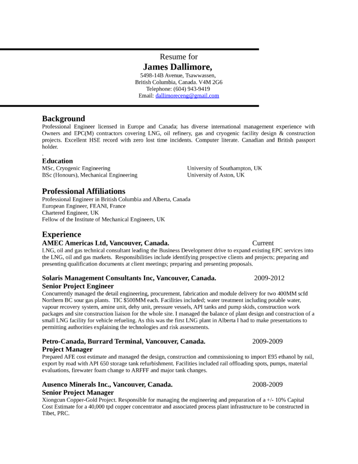 Clean Project Engineer Resume Template