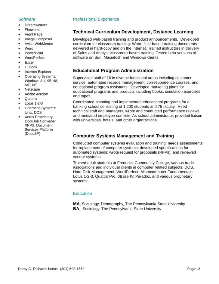 Training and curriculum specialist resume
