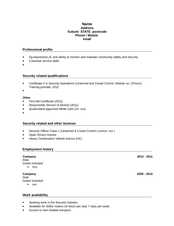 clean unarmed security guard resume example template