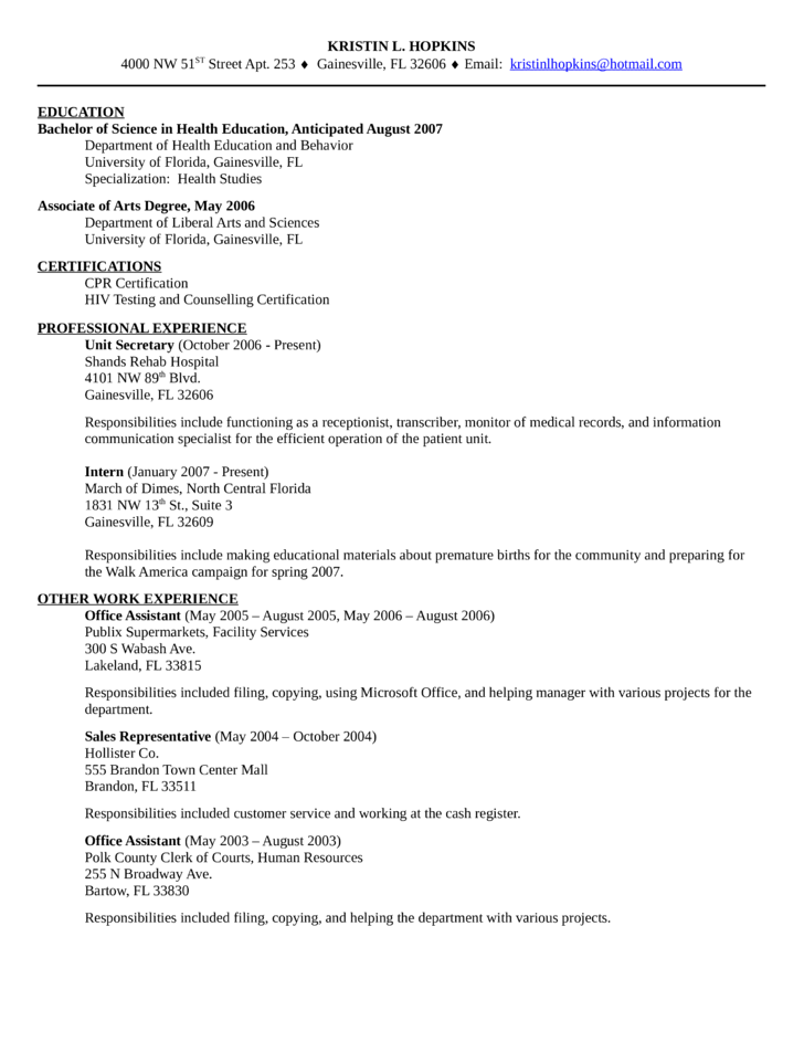 clean unit secretary resume template