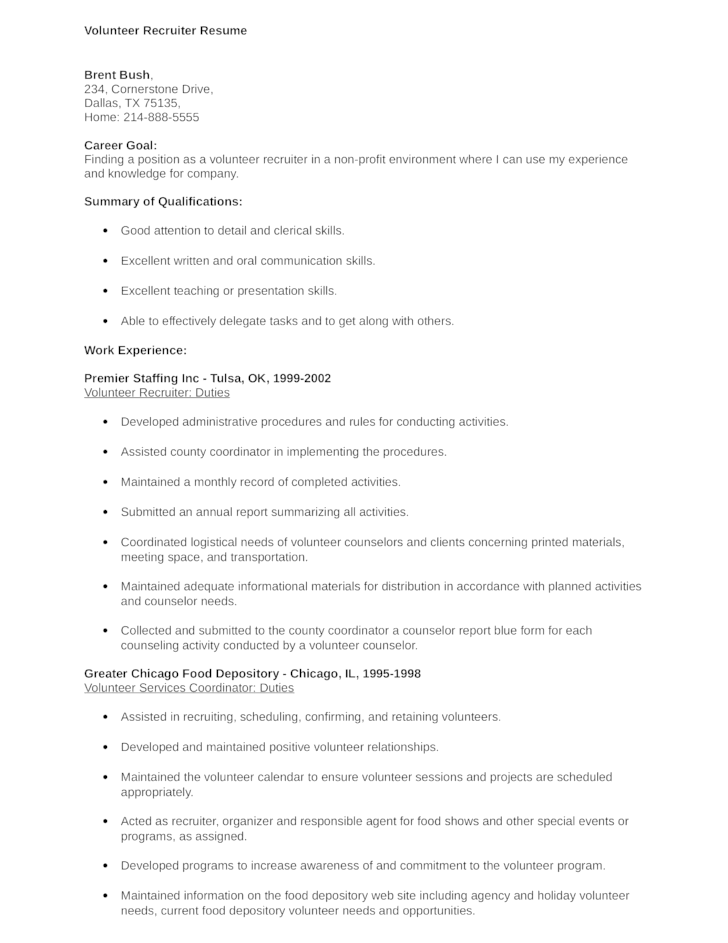 clean volunteer recruiter resume template