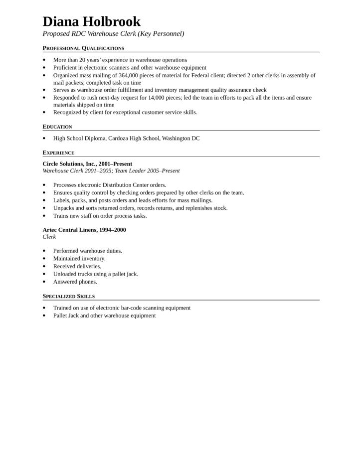 clean warehouse clerk resume template