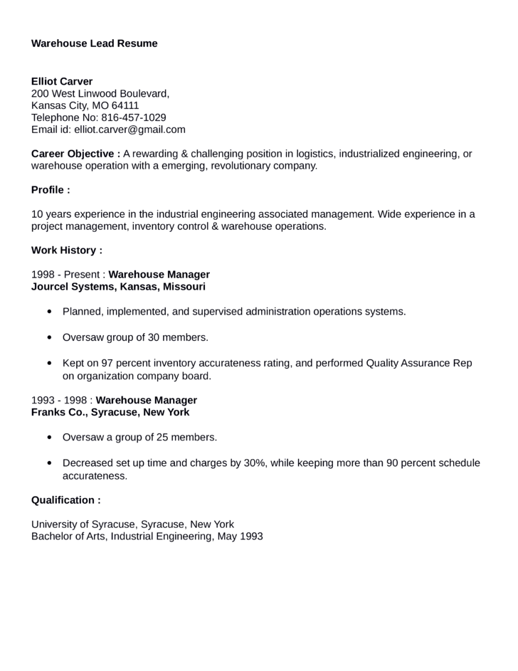 Clean Warehouse Lead Resume Example Template – Resume Examples for Warehouse Position
