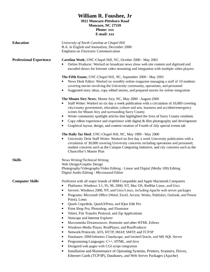 college news producer resume - Web Producer Resume