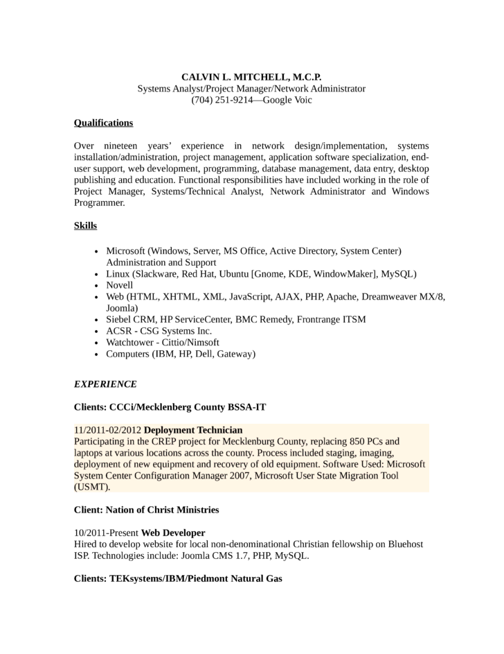 Combination Broadband Technician Resume Example Template