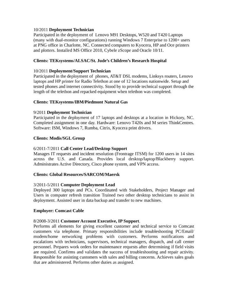 combination broadband technician resume example template page 2