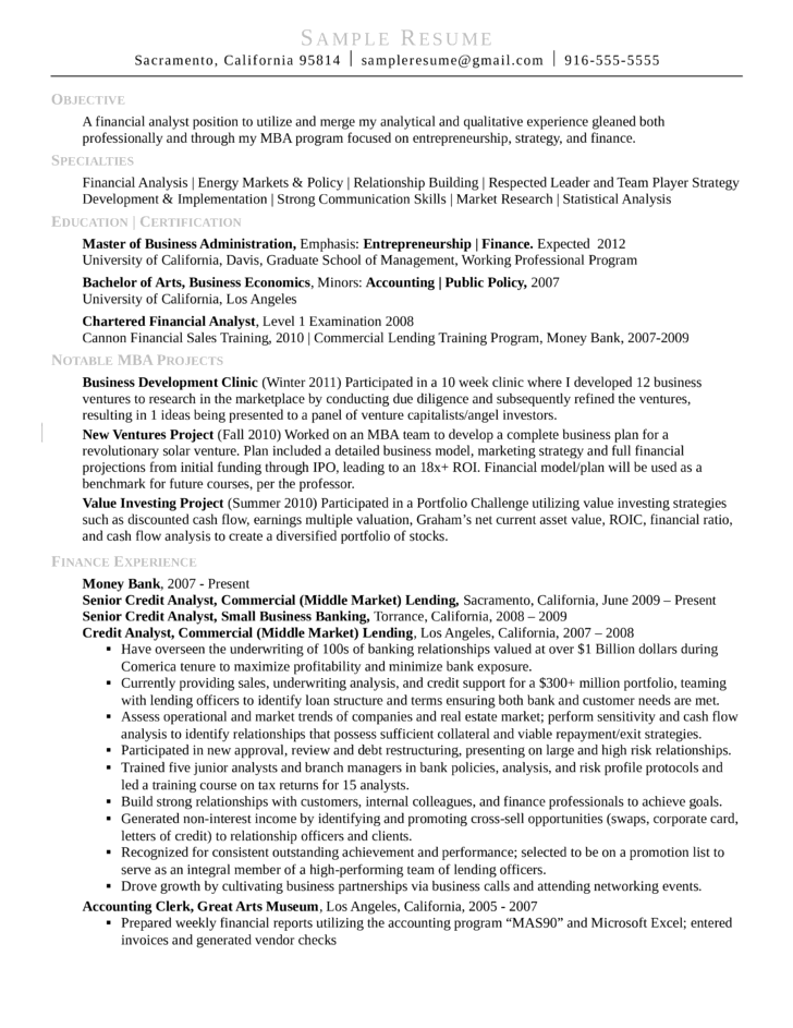 commercial credit analyst resume sle