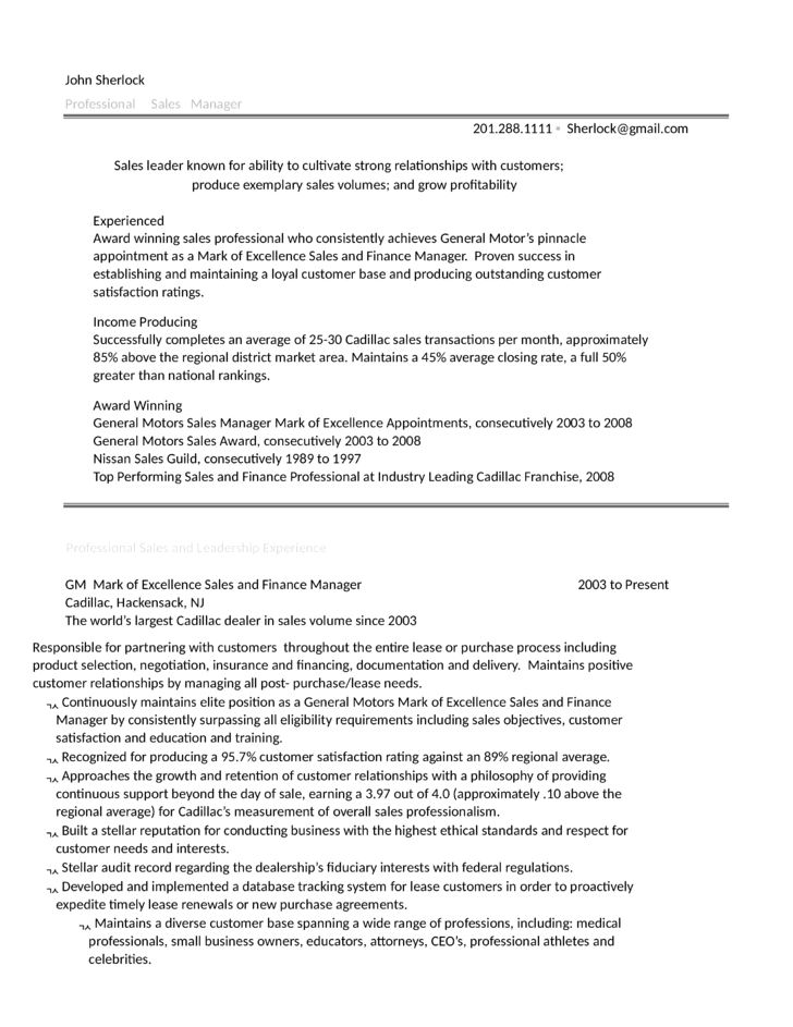 Combination District Sales Manager Resume Example