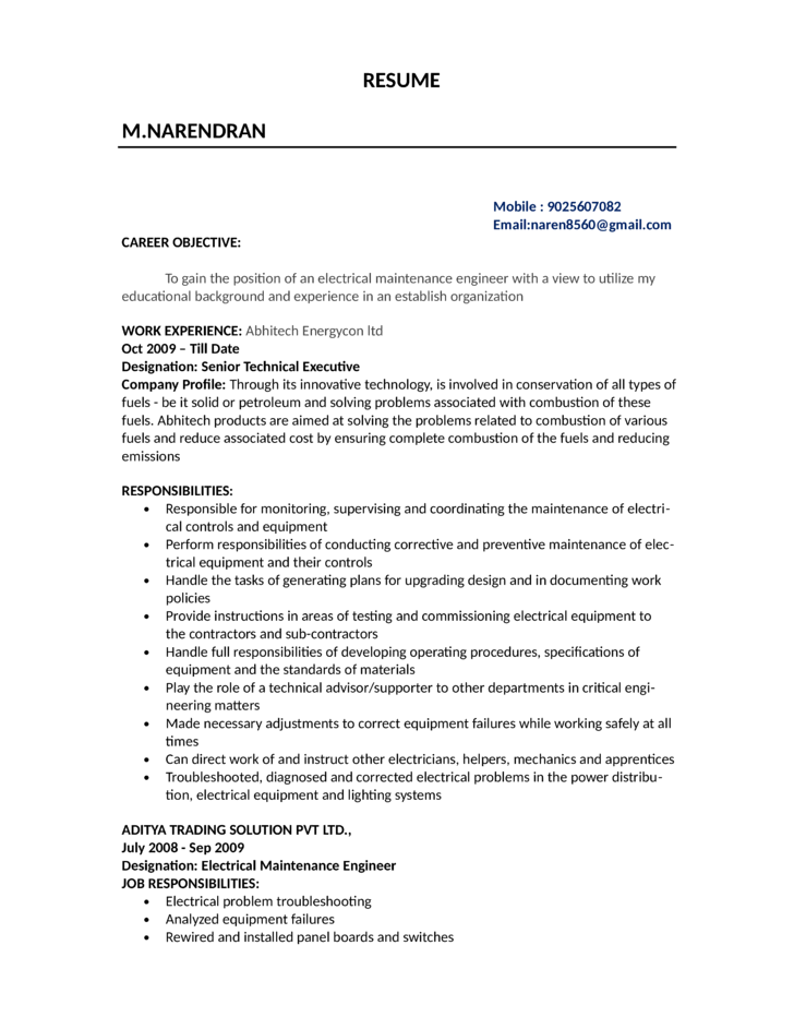 Combination Electrician Resume  Electrician Resume Templates