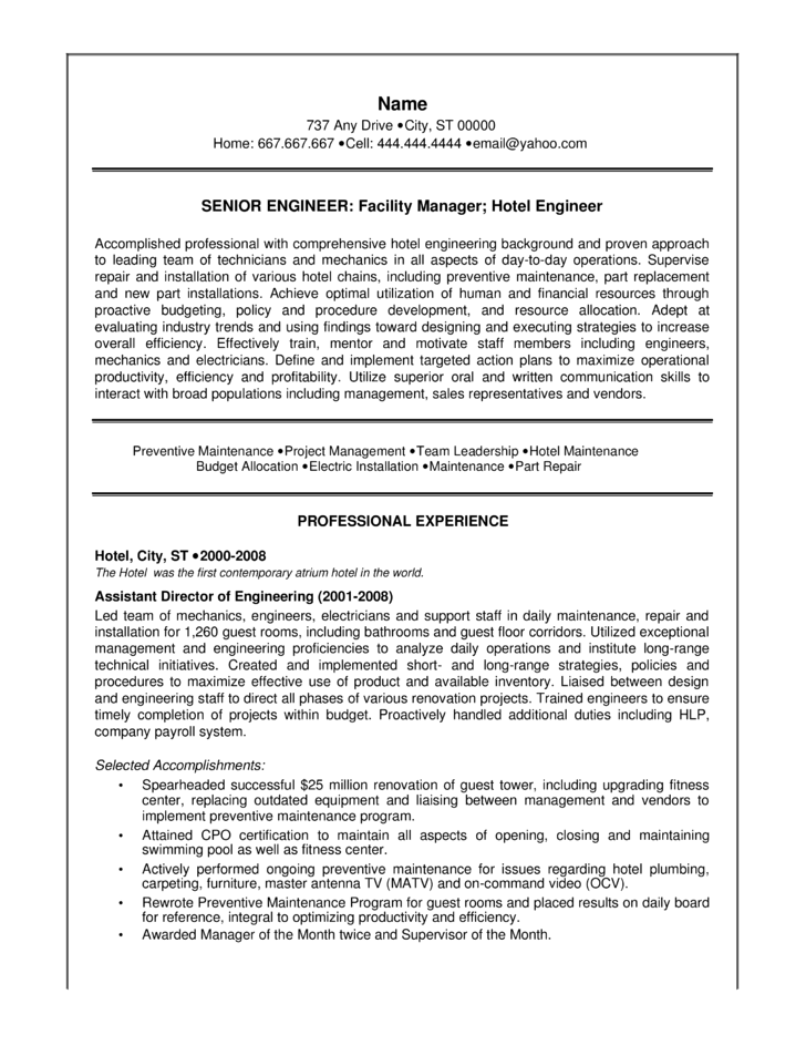 combination engineer resume template