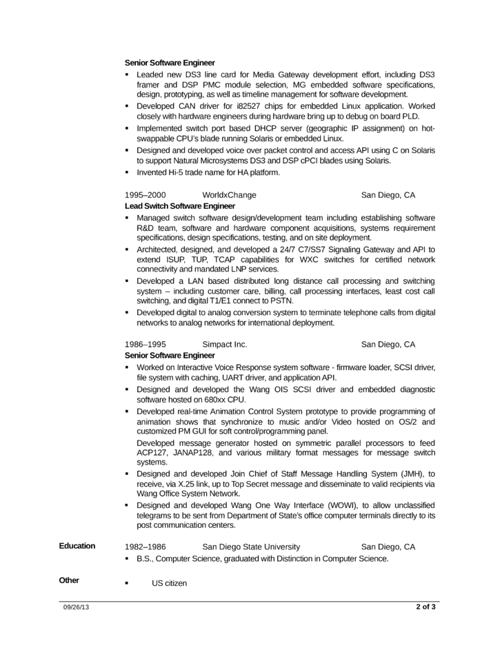 combination executive embedded software engineer resume