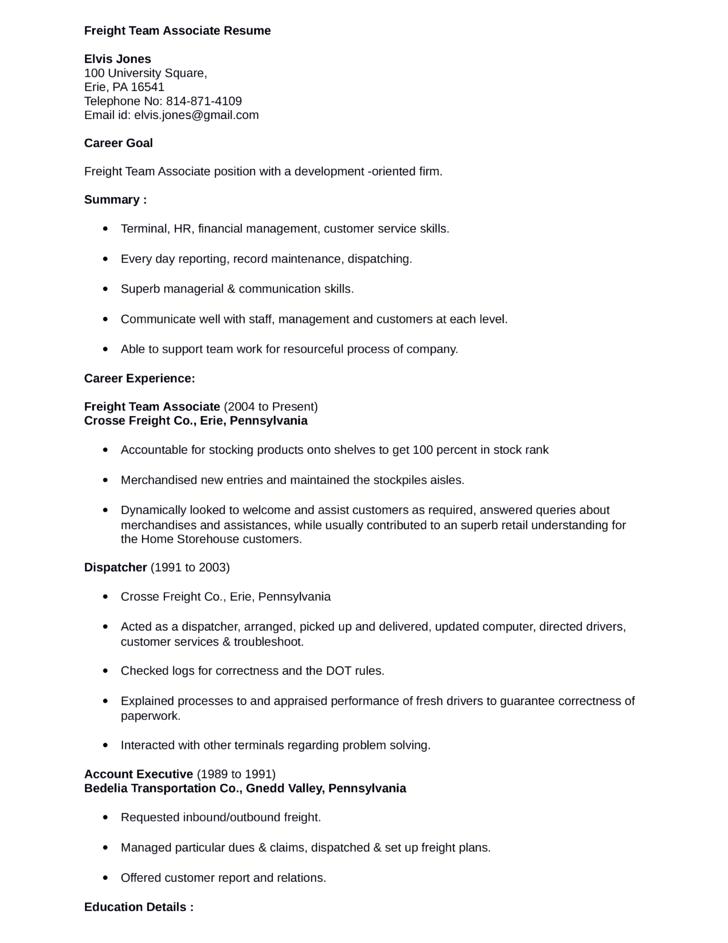 combination freight team associate resume template
