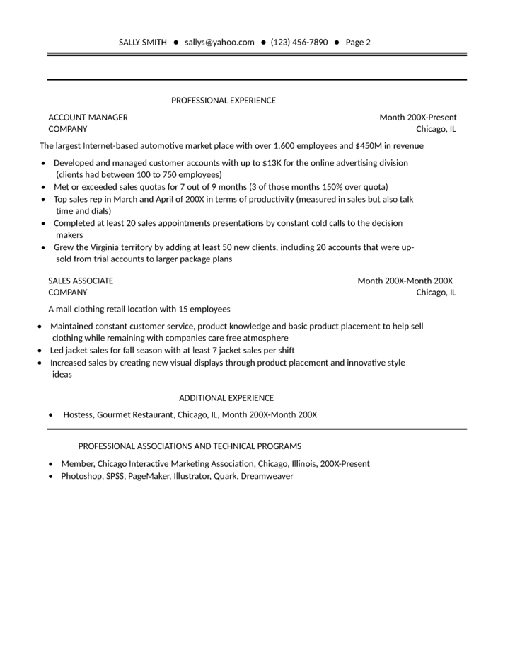 combination sales resume