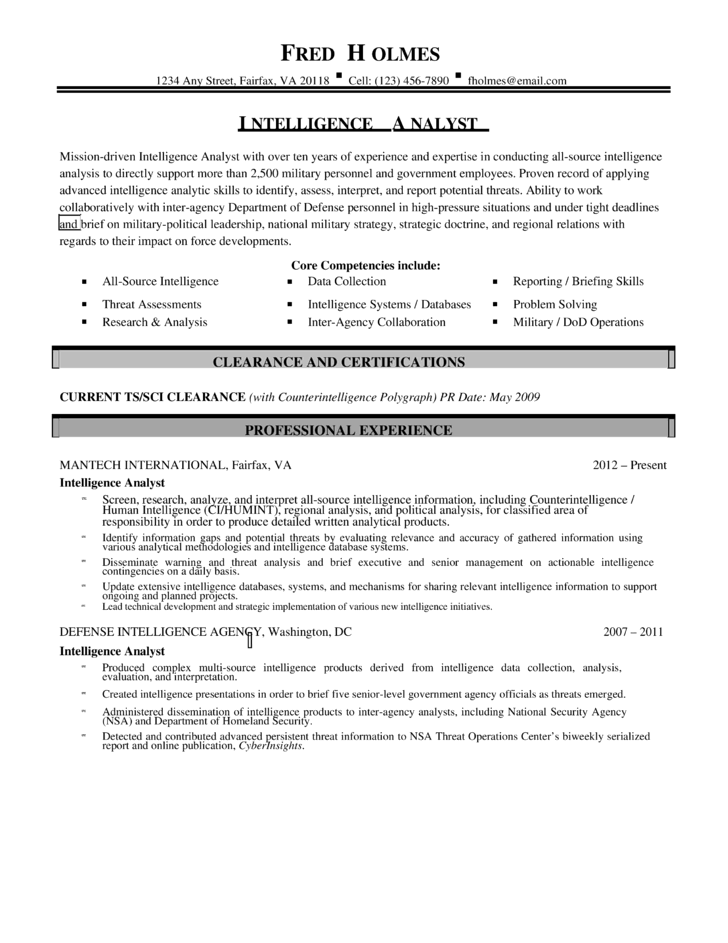 Combination intelligence analyst resume template for Cover letter for intelligence analyst position