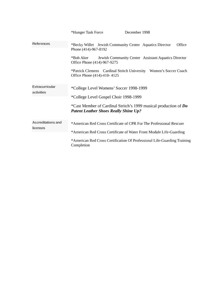 combination lifeguard resume template