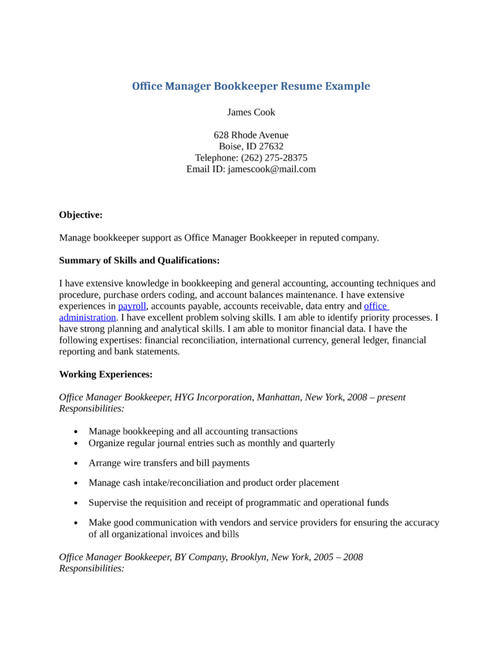 combination office manager bookkeeper resume template
