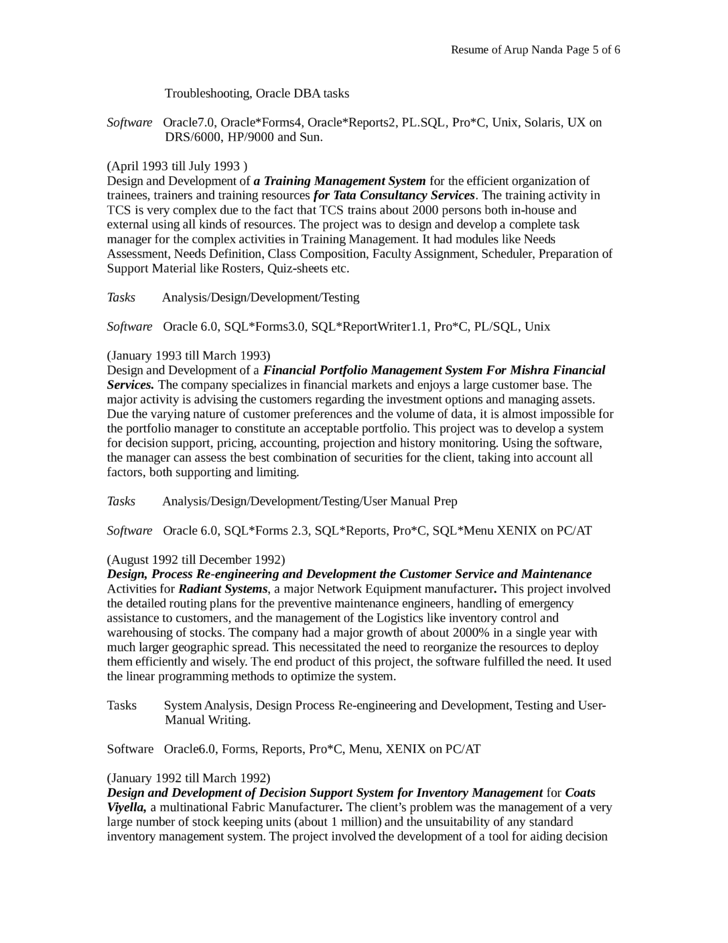 combination oracle database administrator resume template