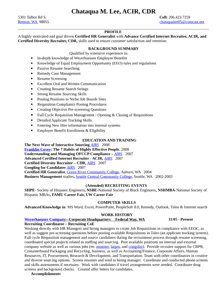 combination recruiting coordinator resume template